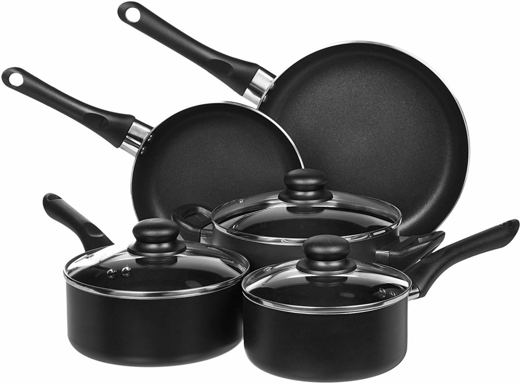 AmazonBasics 8-Piece Non-Stick Kitchen Cookware Set
